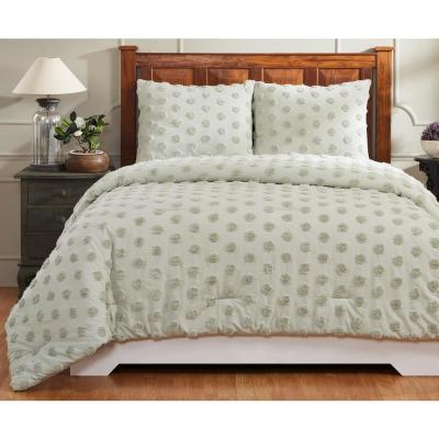 Athenia 90 in. X 90 in.  Sage Full/Queen Comforter with 20 in. X 26 in. 2-Standard Sham