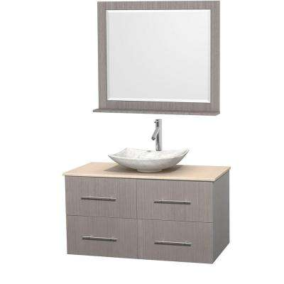 Centra 42 in. Vanity in Gray Oak with Marble Vanity Top in Ivory, Carrara White Marble Sink and 36 in. Mirror