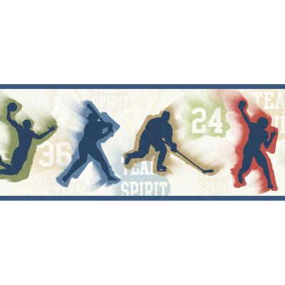 Seth Blue Sports Figures Toss Wallpaper Border Sample