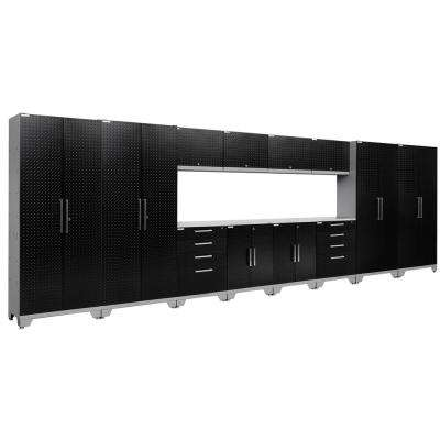 Performance Diamond Plate 2.0 72 in. H x 216 in. W x 18 in. D Garage Cabinet Set in Black (14-Piece)