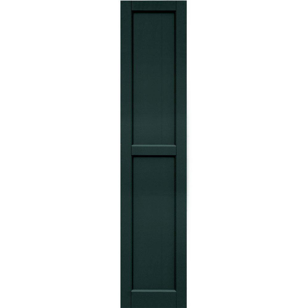 Winworks Wood Composite 15 in. x 70 in. Contemporary Flat Panel Shutters Pair #638 Evergreen
