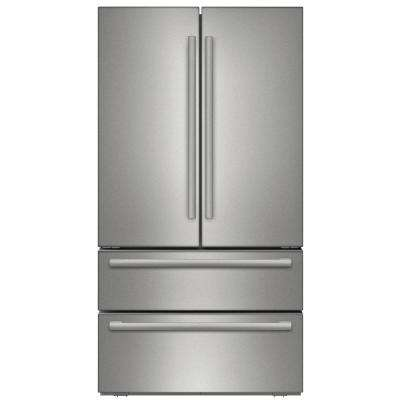 800 Series 36 in. 20.7 cu. ft. French Door Refrigerator in Stainless Steel with 2 Freezer Drawers, Counter Depth