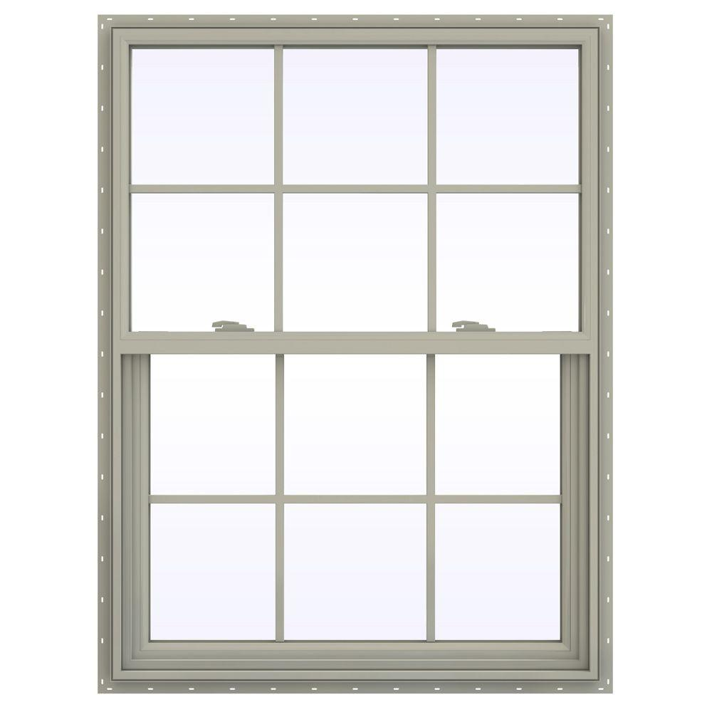 JELD-WEN 35.5 in. x 53.5 in. V-2500 Series Desert Sand Vinyl Single Hung Window with Colonial Grids/Grilles