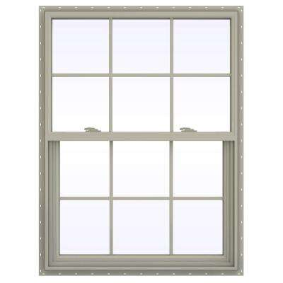 35.5 in. x 53.5 in. V-2500 Series Desert Sand Vinyl Single Hung Window with Colonial Grids/Grilles