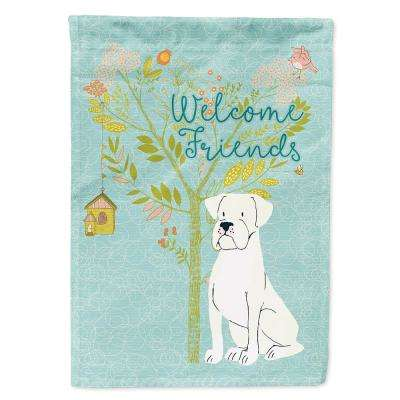 28 in. x 40 in. Polyester Welcome Friends White Boxer Flag Canvas House Size 2-Sided Heavyweight
