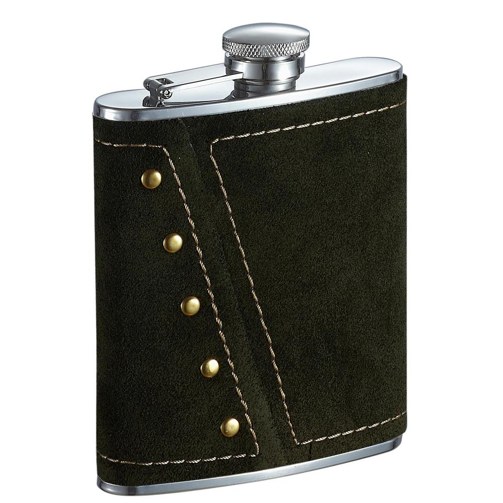 visol mission dark olive colored suede liquor flask vf1346 the