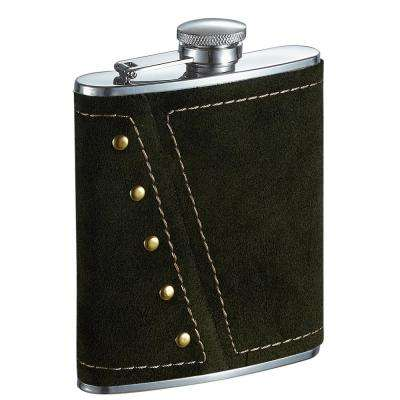 Mission Dark Olive Colored Suede Liquor Flask