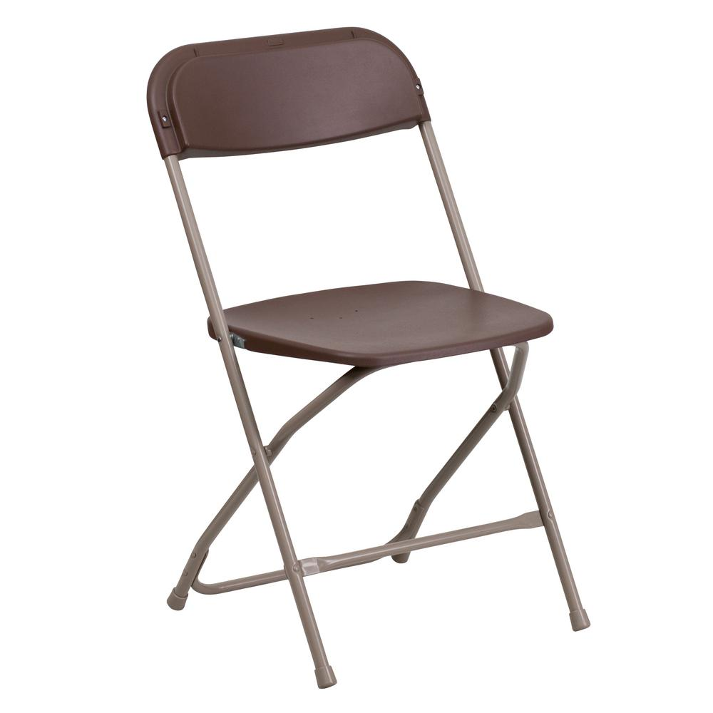 Flash Furniture Hercules Series 800 lb. Capacity Premium Brown Plastic Folding Chair  sc 1 st  The Home Depot & Flash Furniture Hercules Series 800 lb. Capacity Premium Brown ...