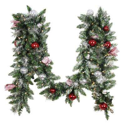 12 ft. Battery Operated Frosted Mercury Artificial Garland with 100 Clear LED Lights