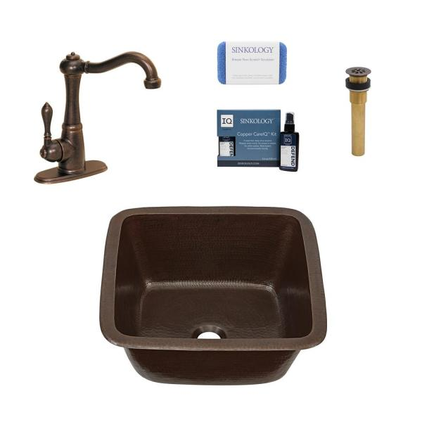 Greco All-in-One Drop-In/Undermount Copper 15 in. Single Bar/Prep Kitchen Sink with Pfister Faucet and Drain