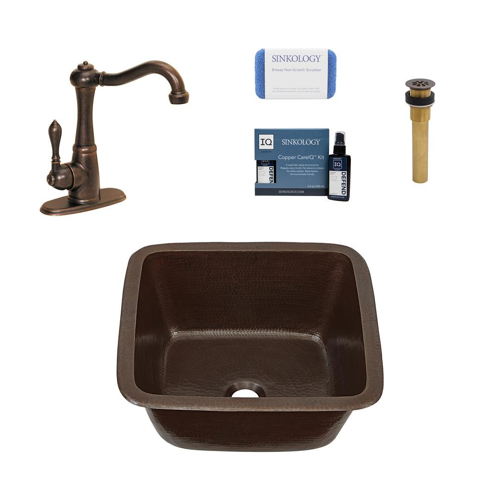 SINKOLOGY Greco All-in-One Drop-In/Undermount Copper 15 in. Single Bar/Prep  Kitchen Sink with Pfister Faucet and Drain