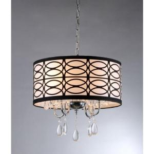 Warehouse of Tiffany Olga 4-Light Chrome Crystal Ceiling Chandelier with Fabric Shade by Warehouse of Tiffany