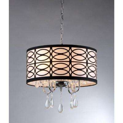 Olga 4-Light Chrome Crystal Ceiling Chandelier with Fabric Shade