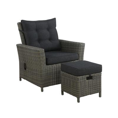 Asti 2-Piece All-Weather Wicker Outdoor Recliner with Dark Gray Cushion and 15 in. Ottoman with Dark Gray Cushion