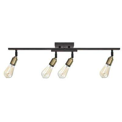 Bryce 3 ft. 4-Light Oil-Rubbed Bronze and Antique Track Lighting Kit, Bulbs Included