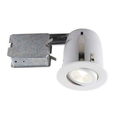 3.85 in. White Slim Multidirectional Recessed Lighting Fixture Designed for Insulated Ceiling
