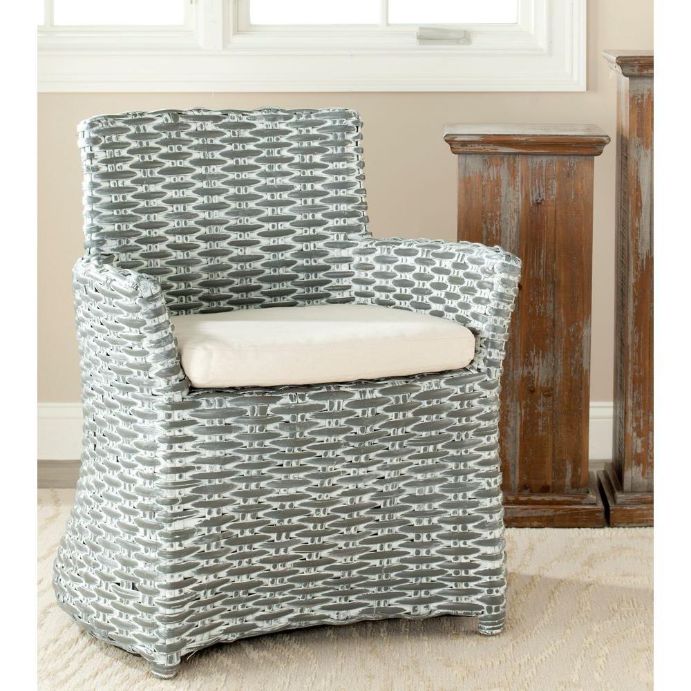 Safavieh Cabana Grey White Wash Rattan Arm Chair