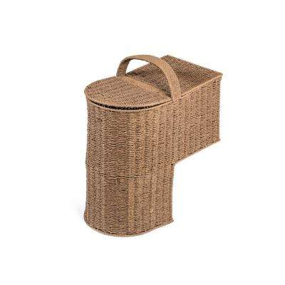 15.25 in. Paper Rope Wicker Storage Stair Basket with Handle