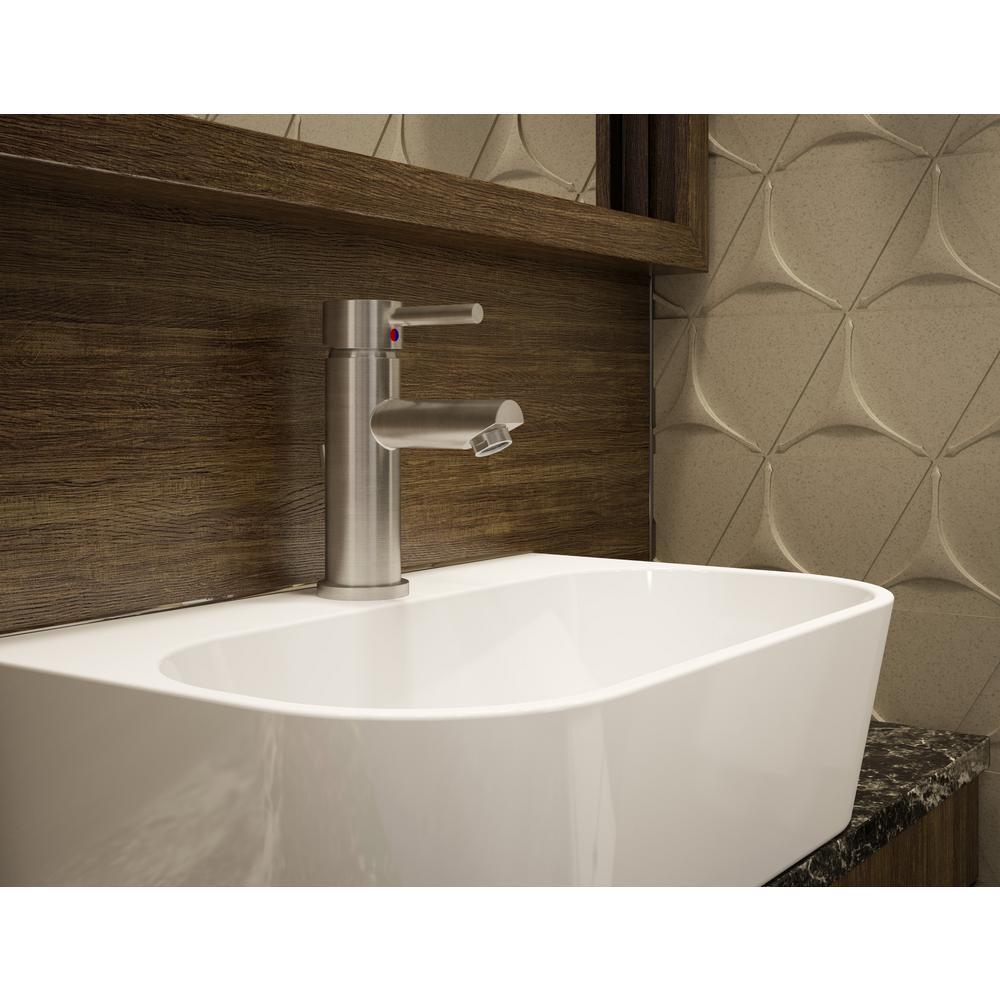 Dia Single Hole Single-Handle Bathroom Faucet with Metal Drain in Satin Nickel