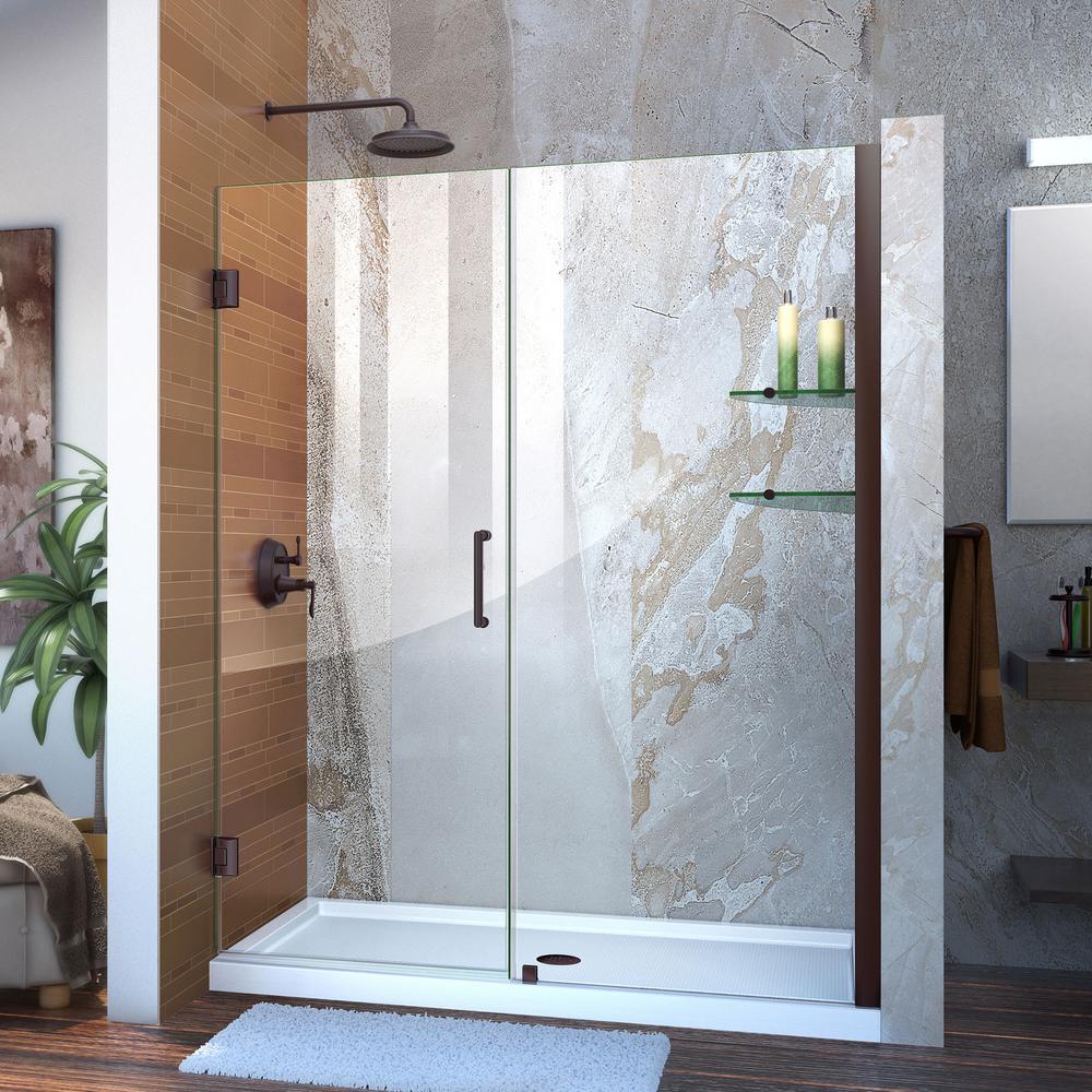 Unidoor 56 to 57 in. x 72 in. Frameless Hinged Pivot Shower Door in Oil Rubbed Bronze with Handle