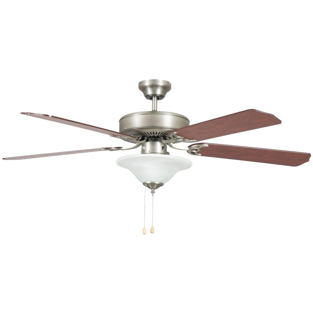 Heritage Square Series 52 in. Indoor Satin Nickel Ceiling Fan