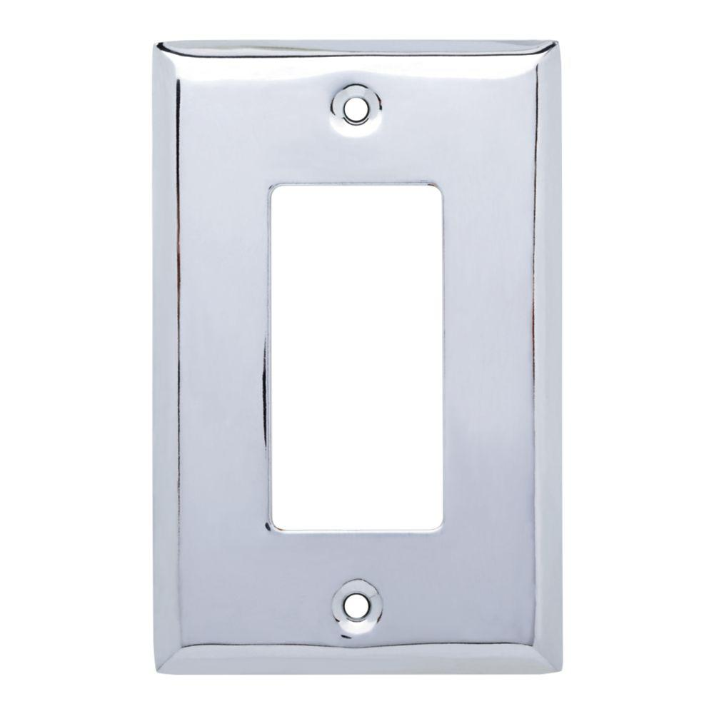 Stamped Square Decorative Single Rocker Switch Plate, Polished Chrome (25-Pack)