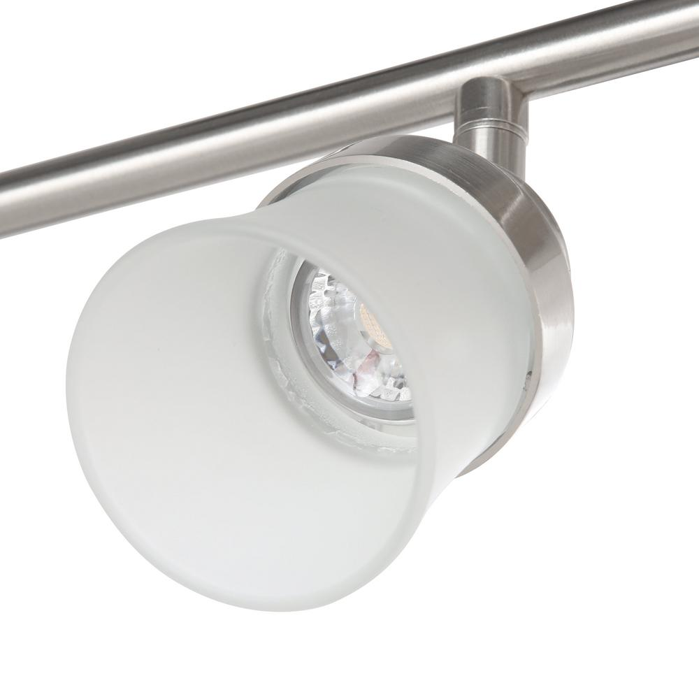 Led Track Lighting Brushed Nickel: Track Lighting Kit 3ft Brushed Nickel Slim LED Track