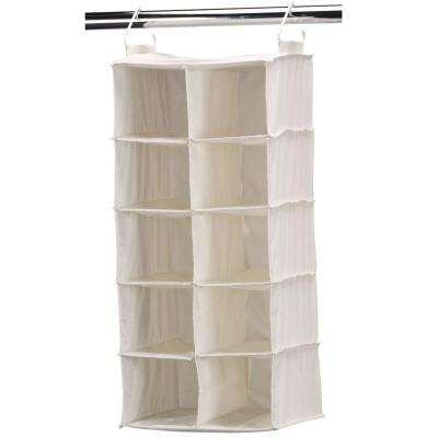 10-Pocket Side-by-Side Natural Canvas Hanging Shoe Organizer