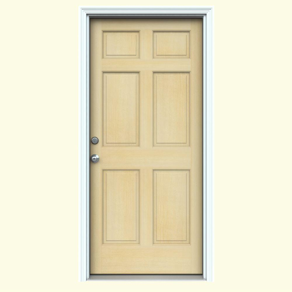 Jeld Wen 32 In X 80 In 6 Panel Unfinished Wood Prehung Right Hand Inswing Front Door W Primed