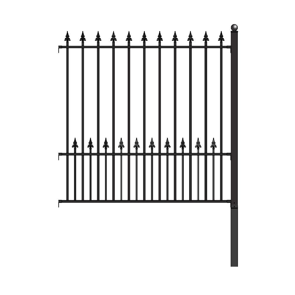 Munich Style 5 ft. x 5.5 ft. Black Iron DIY Fence Panel