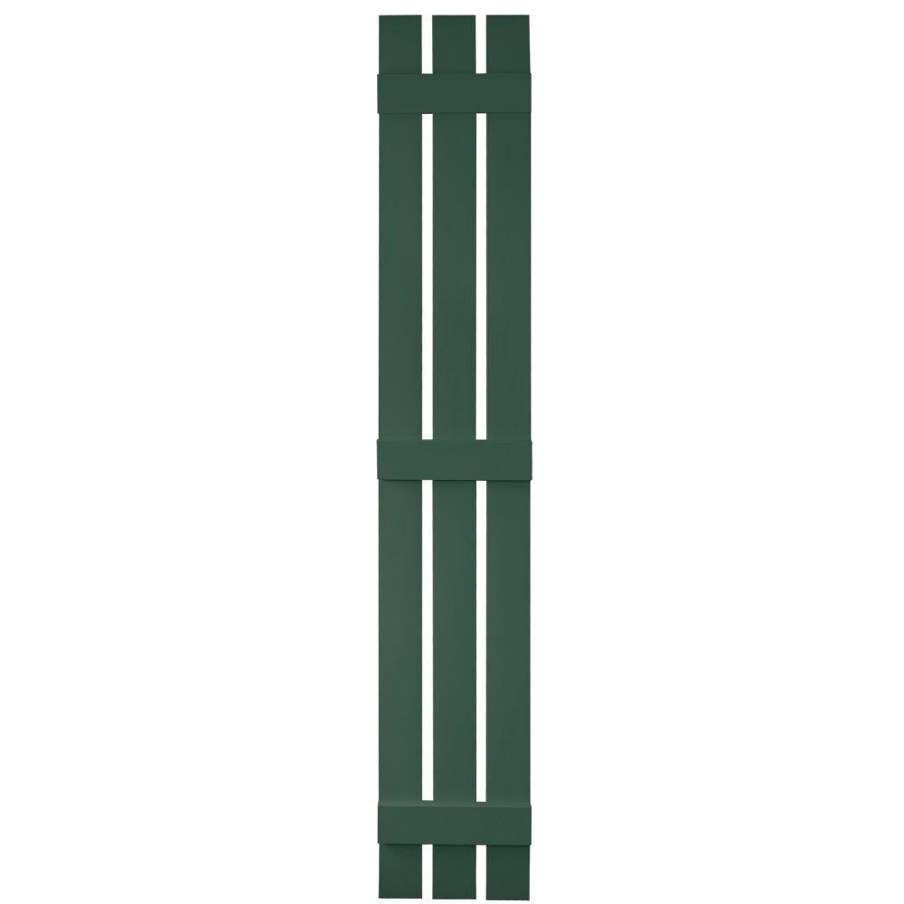 Builders Edge 12 in. x 80 in. Board-N-Batten Shutters Pair, 3 Boards Spaced #028 Forest Green