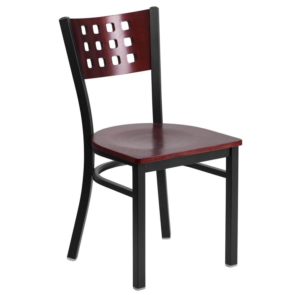 Carnegy Avenue Mahogany Wood Back/Mahogany Wood Seat/Black Metal Frame Side