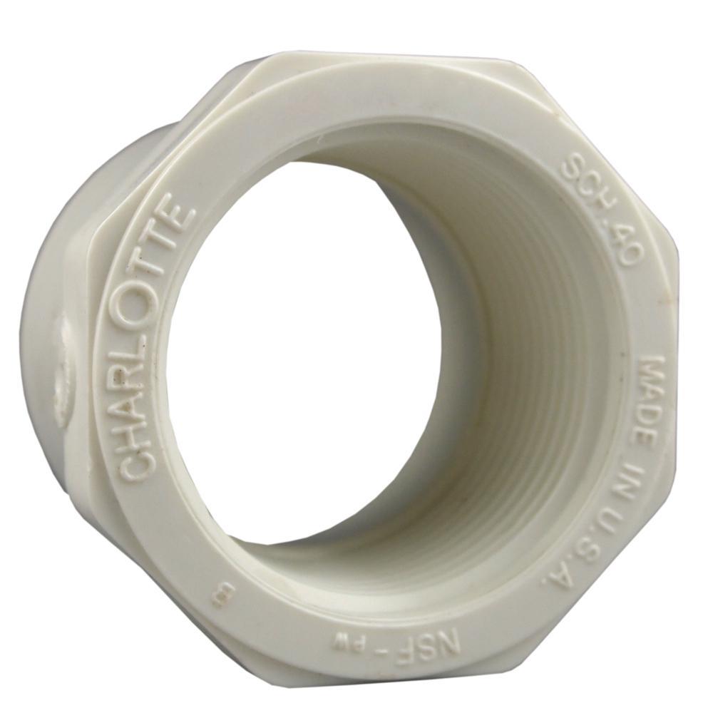 1 in. x 3/4 in. PVC Schedule 40 Spigot x FPT Reducer Bushing