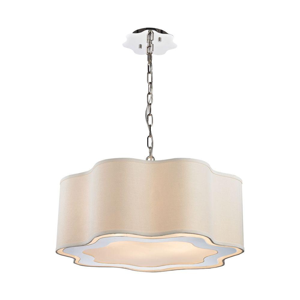 An Lighting Villoy 6 Light Polished Stainless Steel And Nickel Drum Pendant