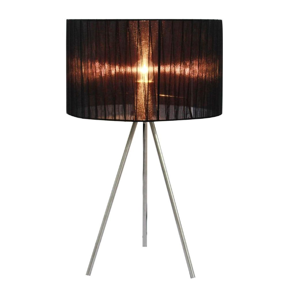Simple Designs 19.69 In. Brushed Nickel Tripod Table Lamp With Black Pleated Silk Sheer Shade