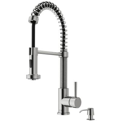 Edison Single-Handle Pull-Down Sprayer Kitchen Faucet with Soap Dispenser in Stainless Steel