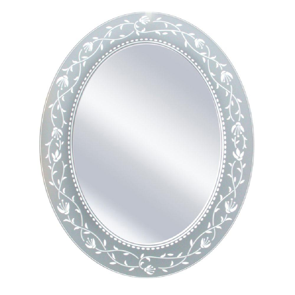 Deco Mirror 23 in. x 29 in. Fushcia Oval Mirror