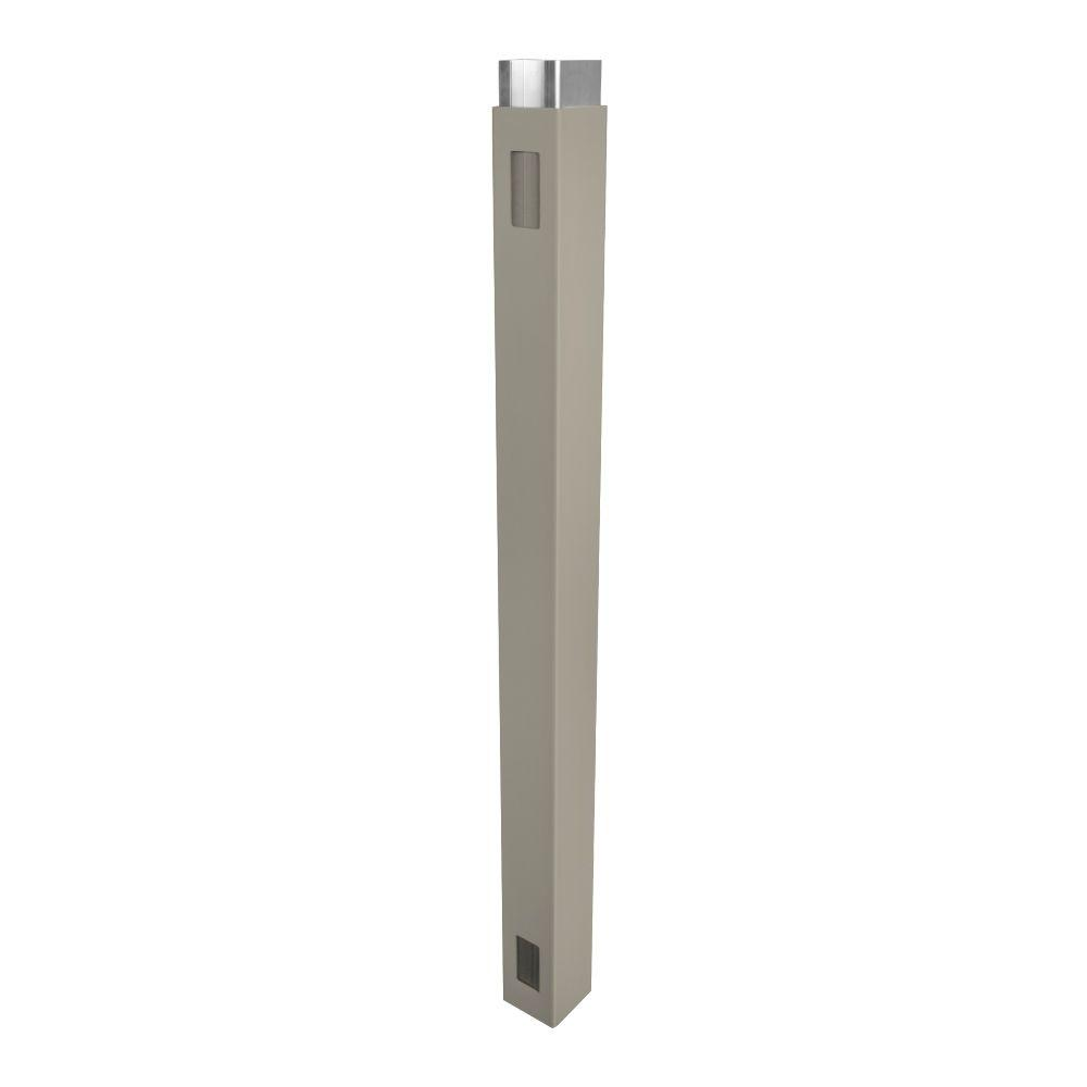 Weatherables 4 in. x 4 in. x 7 ft. Khaki Vinyl Fence Gate End Post