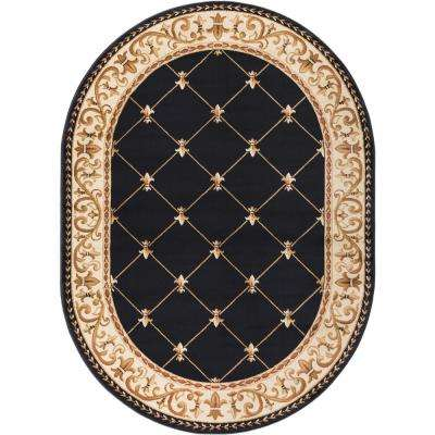 Sensation Black 5 ft. 3 in. x 7 ft. 3 in. Oval Traditional Area Rug