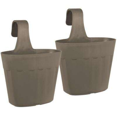 Mela 8.75 in. Taupe Plastic Saddlebag Rail Planter (2-Pack)