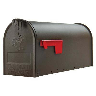 Elite Medium, Steel, Post Mount Mailbox, Textured Bronze