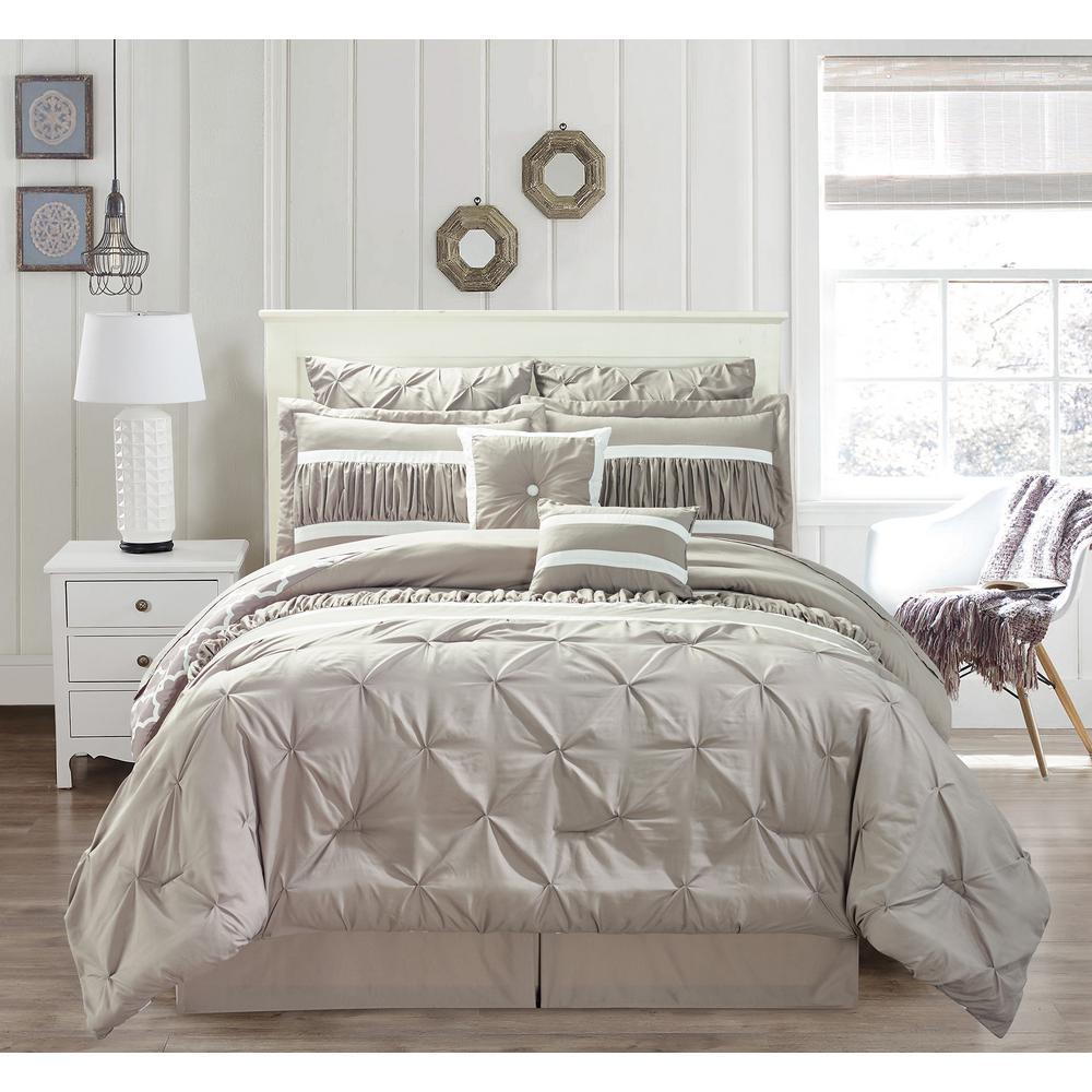 Marlin 10-Piece Taupe Queen Comforter Set