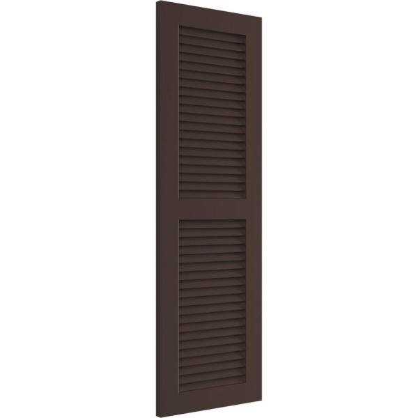 Ekena Millwork 18 X 35 True Fit Pvc Two Equal Louver Shutters Raisin Brown Per Pair 1570225 The Home Depot