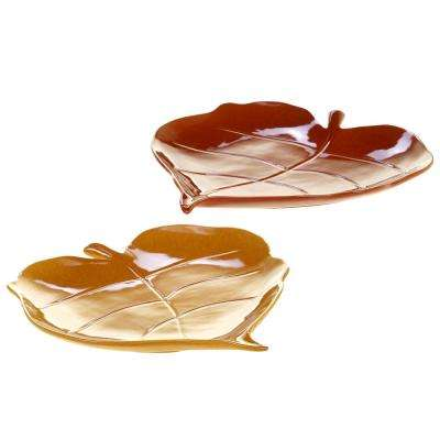 Autumn Fields by Susan Winget 11 in. 3-D Pumpkin/Harvest Gold Leaf Platters (Set of 2)
