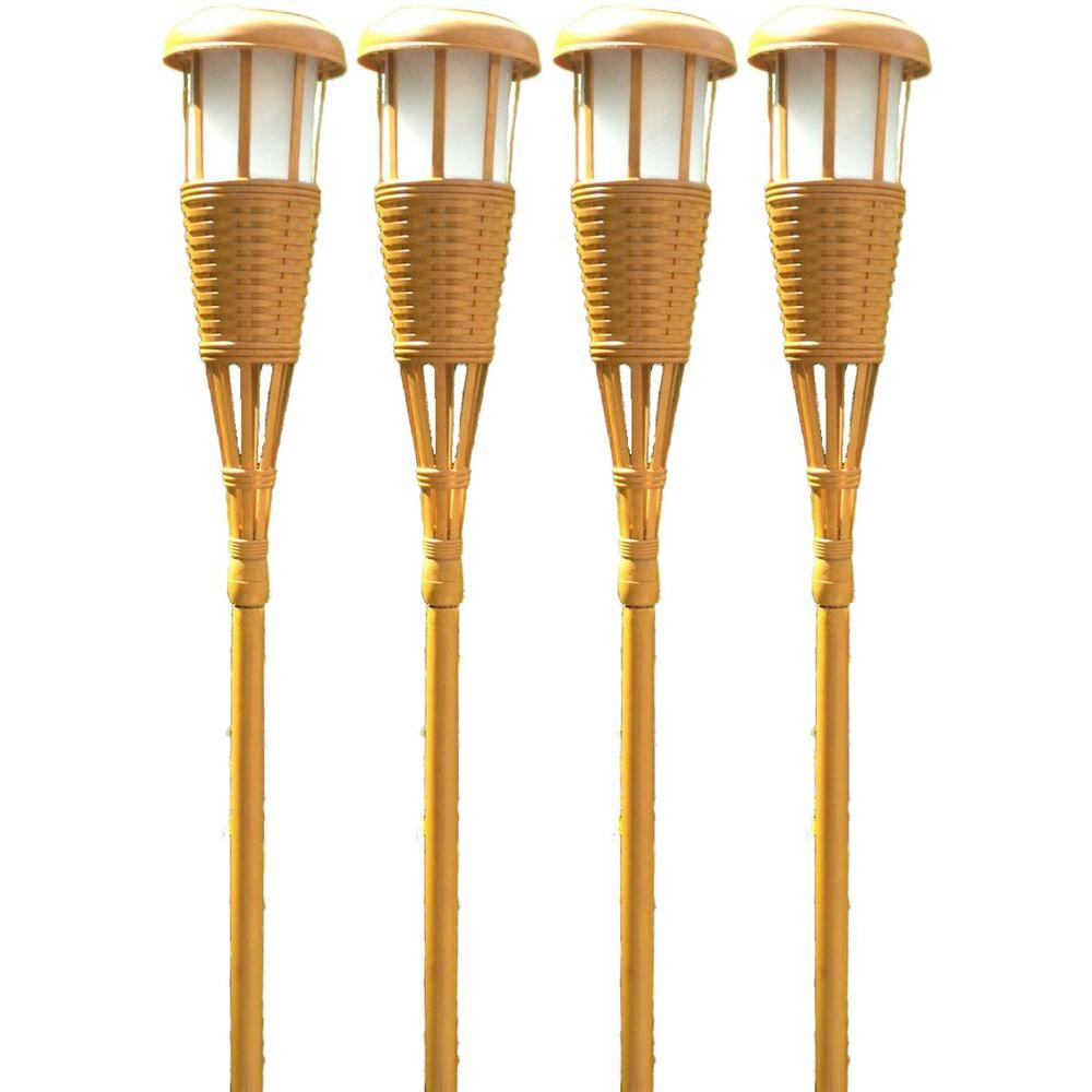 outdoor torch lighting. newhouse lighting bamboo solar tiki torch 4packtikiled4 the home depot outdoor