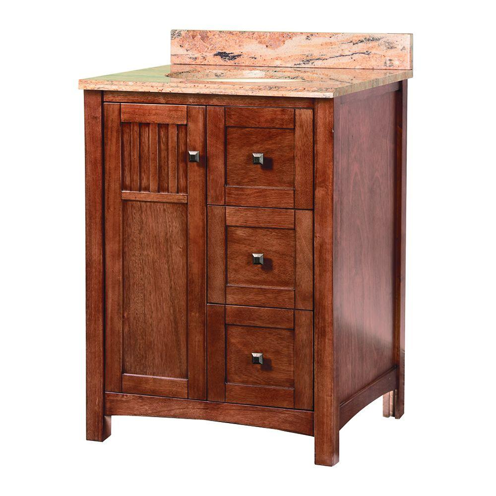 Foremost Knoxville 25 in. W x 22 in. D Vanity in Nutmeg with Stone Effects Vanity Top in Bordeaux