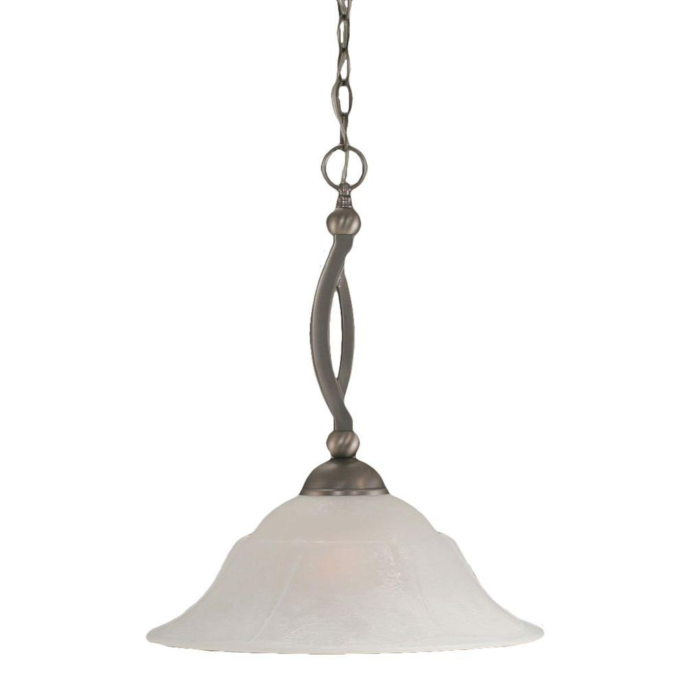 Concord 1-Light Brushed Nickel Pendant with White Marble Glass