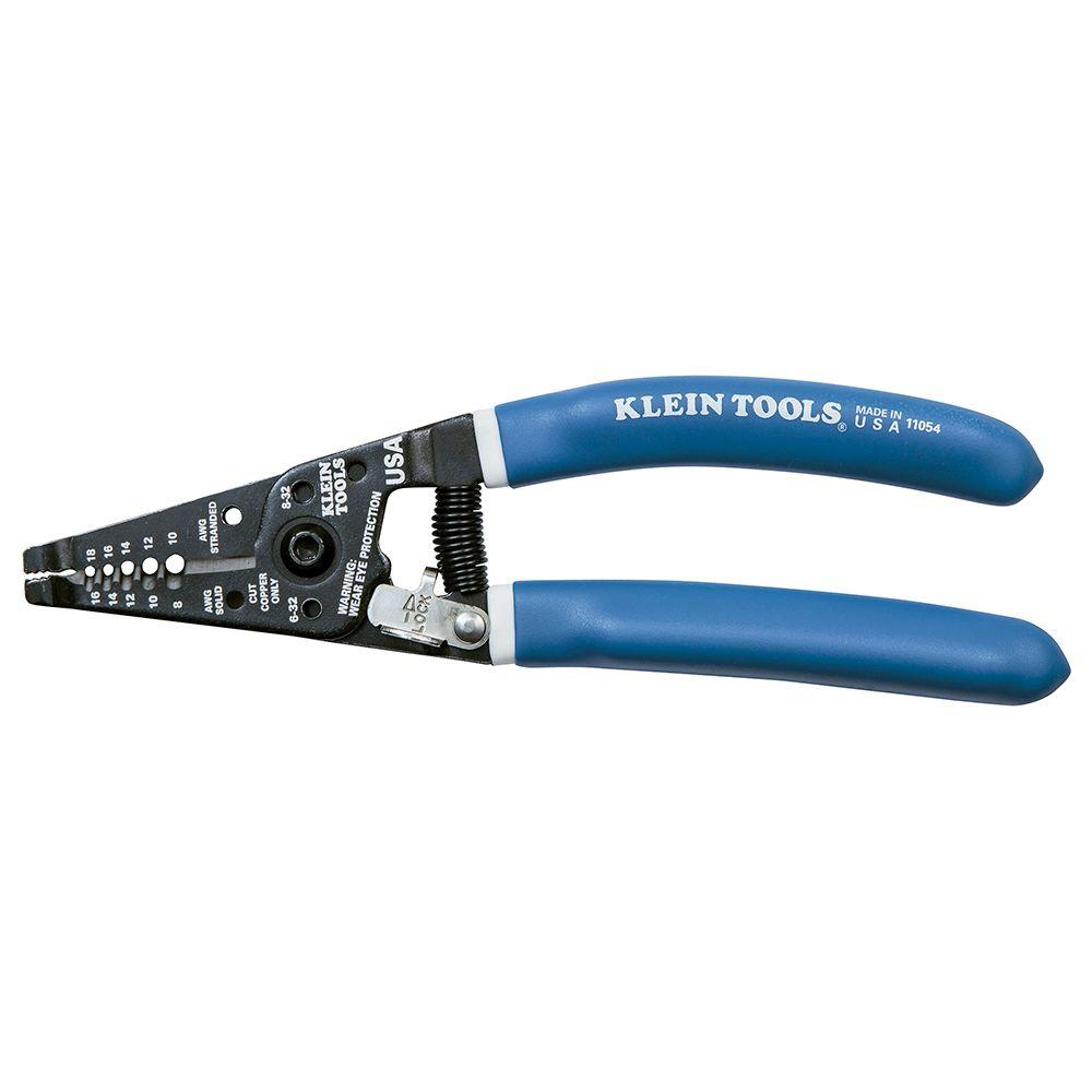 Klein Tools 7-1/8 in. Klein-Kurve Wire Stripper & cutter for 8-16 ...