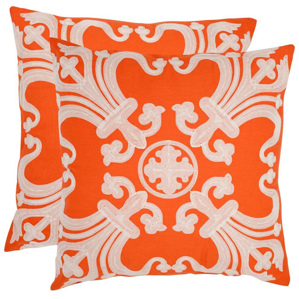 Safavieh Collette Embroidered Pillow (2-Pack), Orange