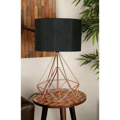 15 in. x 26 in. Modern Drum-Type Metal Wire Table Lamp